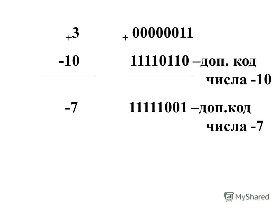 + 3 + 00000011 -10 11110110 –доп. код числа -10 -7 11111001 –доп.код числа -7