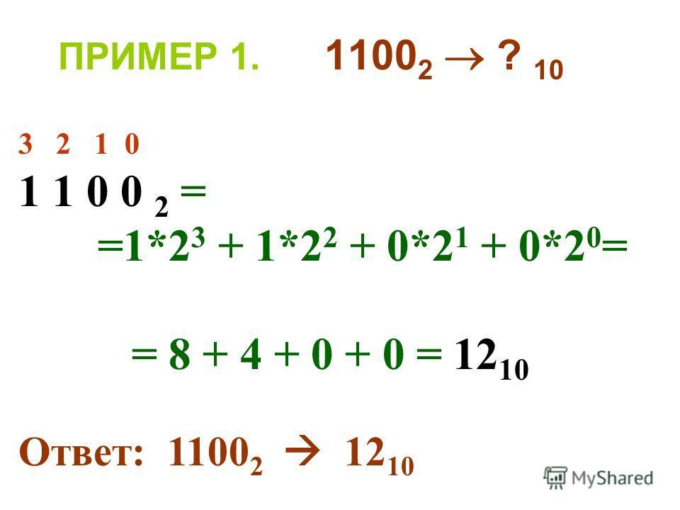 ПРИМЕР 1. 1100 2 ? 10 3 2 1 0 1 1 0 0 2 = =1*2 3 + 1*2 2 + 0*2 1 + 0*2 0 = = 8 + 4 + 0 + 0 = 12 10 Ответ: 1100 2 12 10