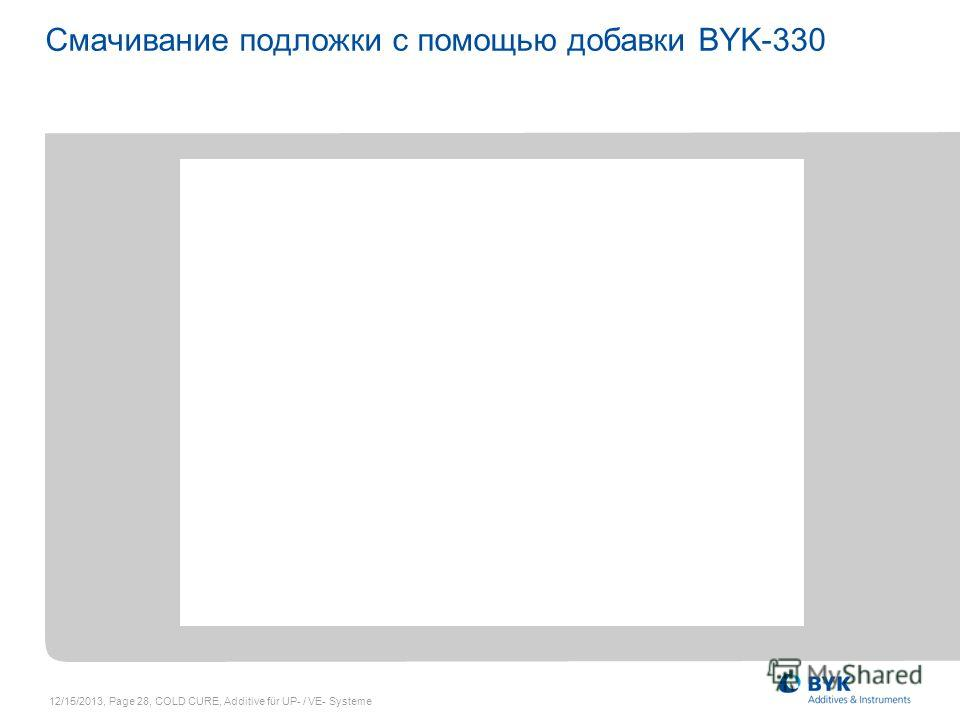 12/15/2013, Page 28, COLD CURE, Additive für UP- / VE- Systeme Смачивание подложки с помощью добавки BYK-330