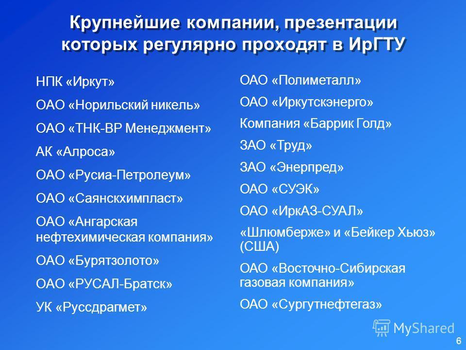 Презентации крупных компаний в ИрГТУ В 2006 году прошло 26 презентаций крупных компаний 5