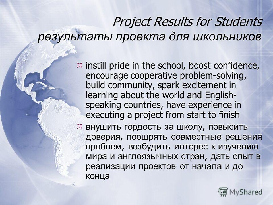 Project Results for Students результаты проекта для школьников instill pride in the school, boost confidence, encourage cooperative problem-solving, build community, spark excitement in learning about the world and English- speaking countries, have e