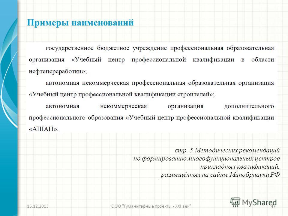 Примеры наименований стр. 5 Методических рекомендаций по формированию многофункциональных центров прикладных квалификаций, размещённых на сайте Минобрнауки РФ 15.12.2013ООО Гуманитарные проекты - XXI век47