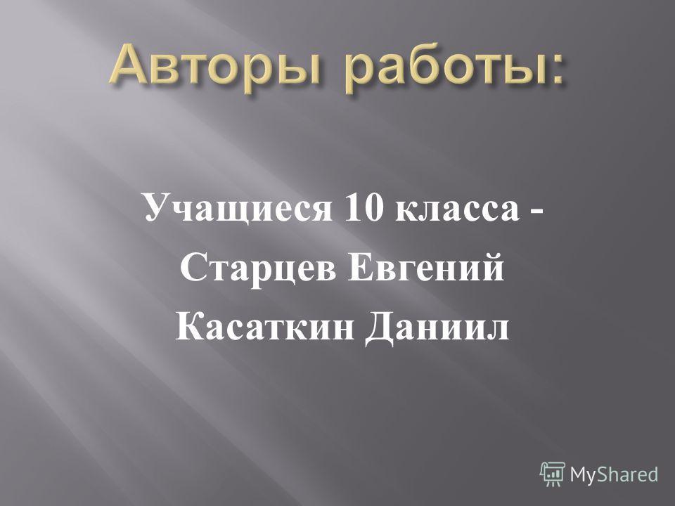 Учащиеся 10 класса - Старцев Евгений Касаткин Даниил
