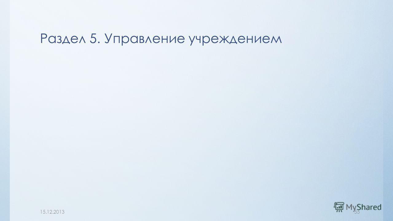 Раздел 5. Управление учреждением 15.12.201355