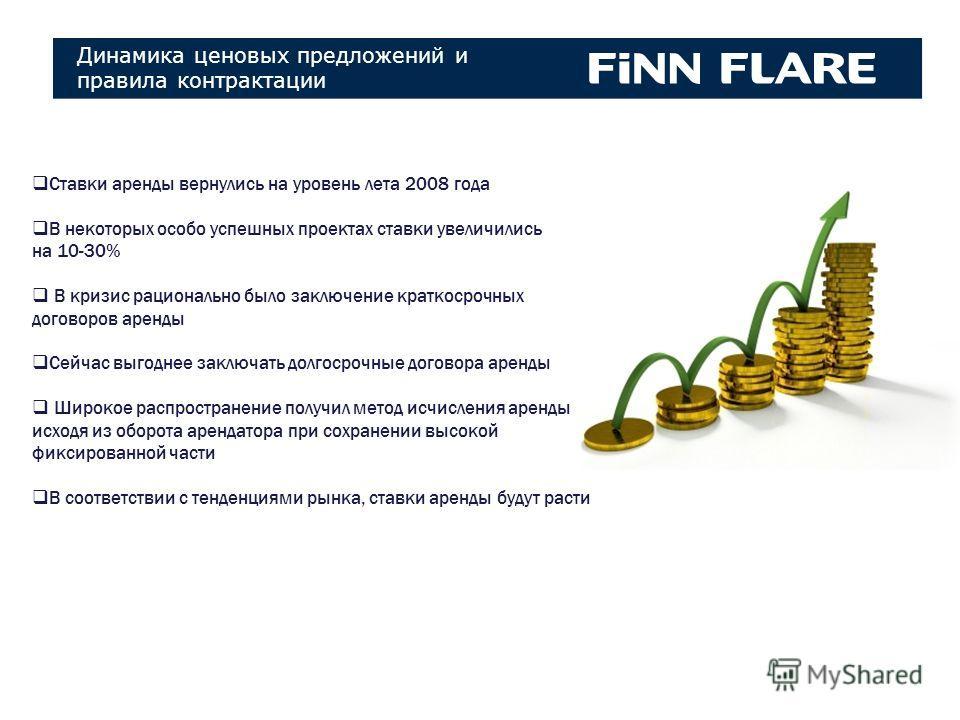 Коллекции FINN FLARE Коллекции Ставки аренды вернулись на уровень лета 2008 года В некоторых особо успешных проектах ставки увеличились на 10-30% В кризис рационально было заключение краткосрочных договоров аренды Сейчас выгоднее заключать долгосрочн