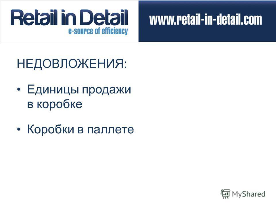 НЕДОВЛОЖЕНИЯ: Единицы продажи в коробке Коробки в паллете