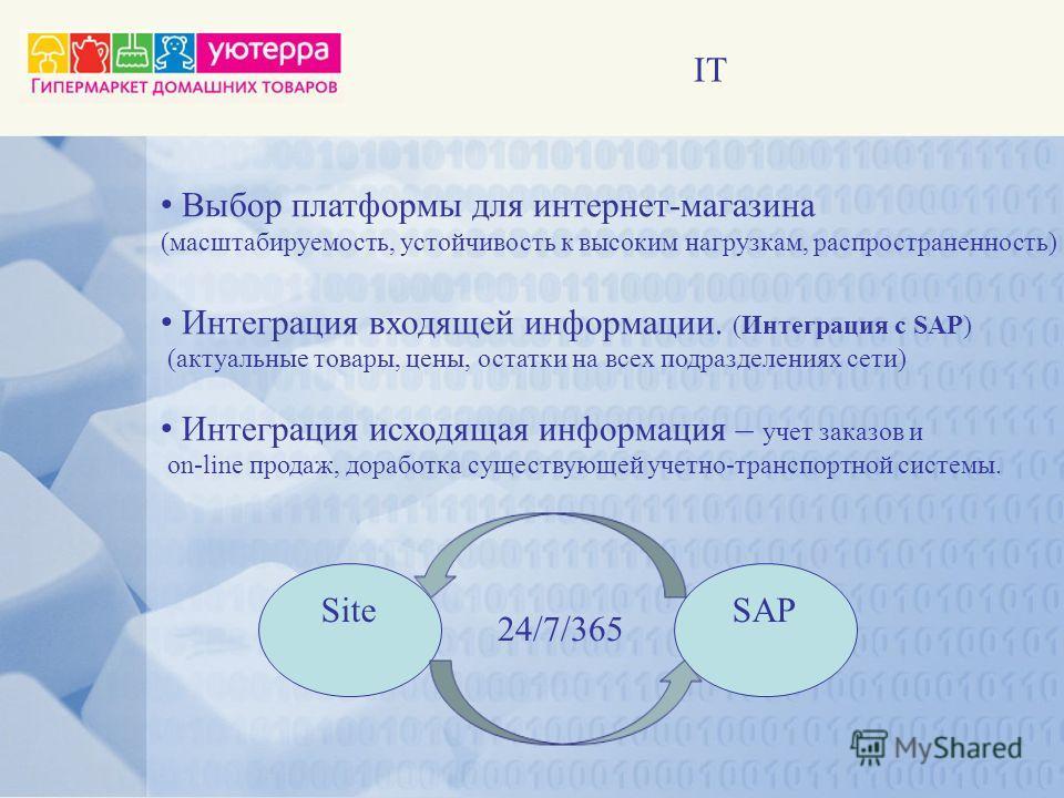 IT Выбор платформы для интернет-магазина (масштабируемость, устойчивость к высоким нагрузкам, распространенность) Интеграция входящей информации. (Интеграция с SAP) (актуальные товары, цены, остатки на всех подразделениях сети) Интеграция исходящая и