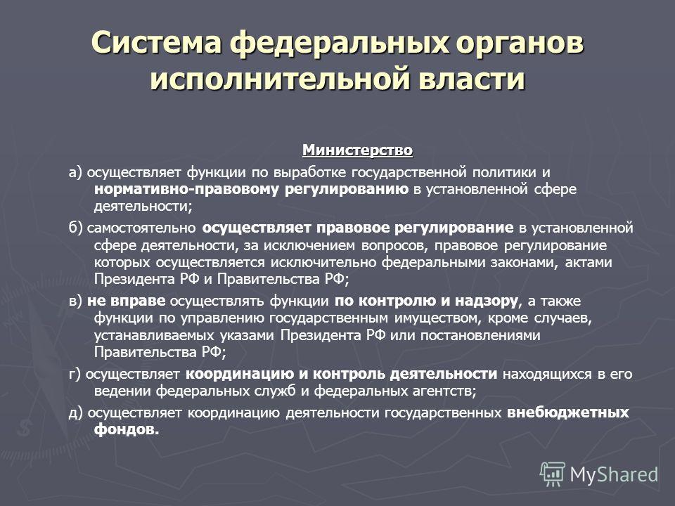 Министерство а) осуществляет функции по выработке государственной политики и нормативно-правовому регулированию в установленной сфере деятельности; б) самостоятельно осуществляет правовое регулирование в установленной сфере деятельности, за исключени