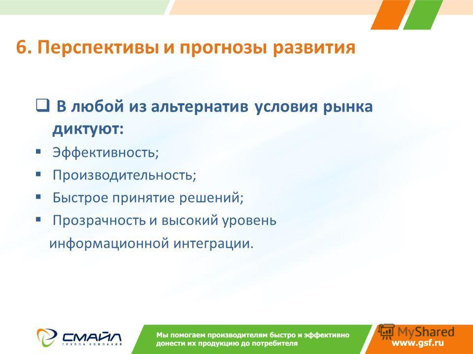 В любой из альтернатив условия рынка диктуют: Эффективность; Производительность; Быстрое принятие решений; Прозрачность и высокий уровень информационной интеграции. 6. Перспективы и прогнозы развития