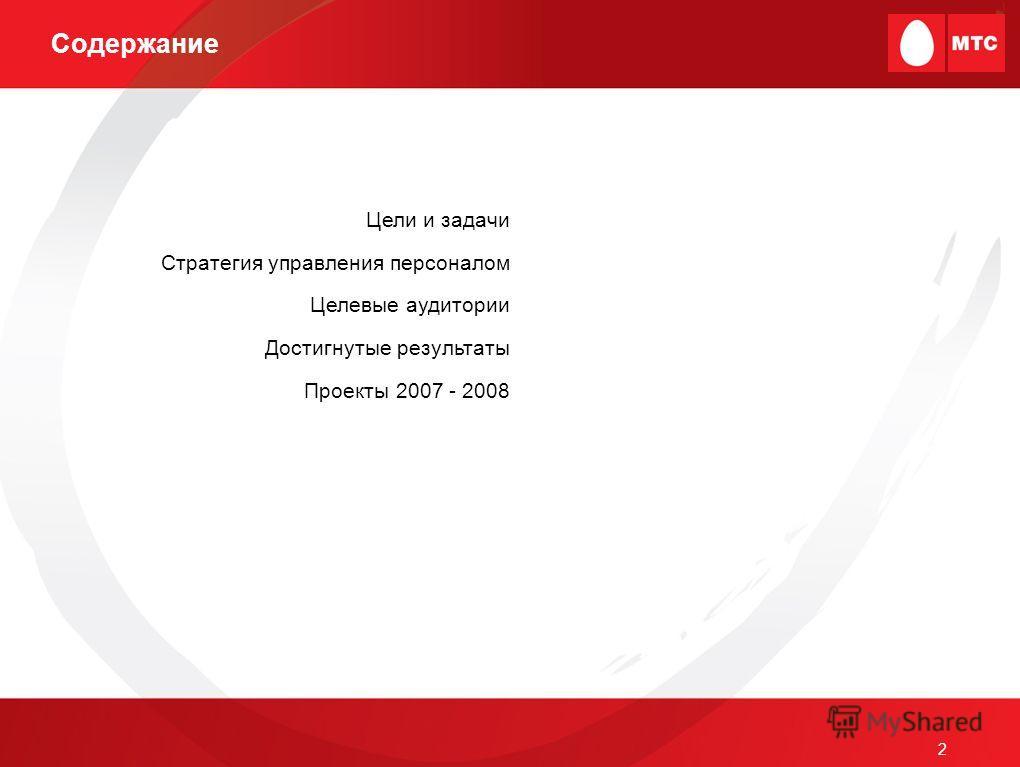 2 Содержание Цели и задачи Стратегия управления персоналом Целевые аудитории Достигнутые результаты Проекты 2007 - 2008