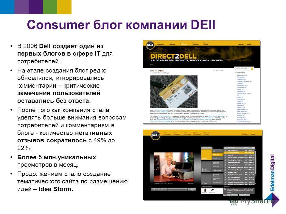 Сonsumer блог компании DEll В 2006 Dell создает один из первых блогов в сфере IT для потребителей. На этапе создания блог редко обновлялся, игнорировались комментарии – критические замечания пользователей оставались без ответа. После того как компани