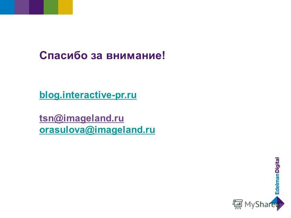 Спасибо за внимание! blog.interactive-pr.ru tsn@imageland.ru orasulova@imageland.ru