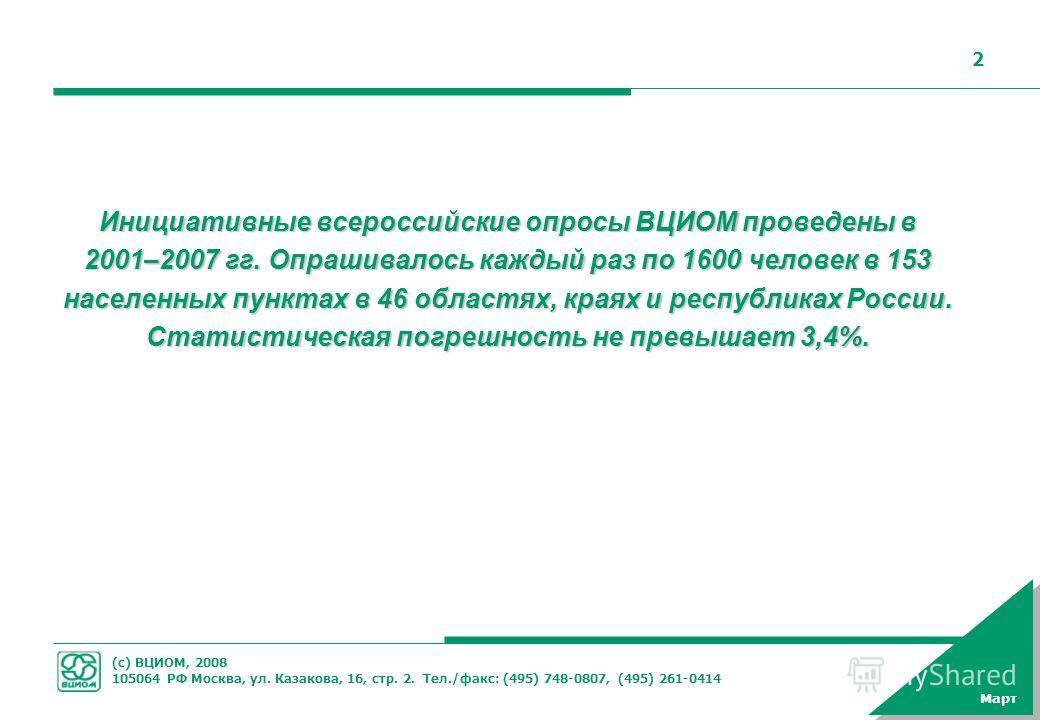 (с) ВЦИОМ, 2008 105064 РФ Москва, ул. Казакова, 16, стр. 2. Тел./факс: (495) 748-0807, (495) 261-0414 2 Март Инициативные всероссийские опросы ВЦИОМ проведены в 2001–2007 гг. Опрашивалось каждый раз по 1600 человек в 153 населенных пунктах в 46 облас
