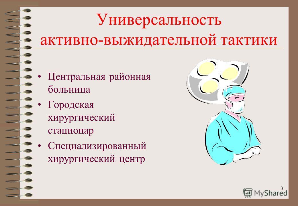3 Универсальность активно-выжидательной тактики Центральная районная больница Городская хирургический стационар Специализированный хирургический центр