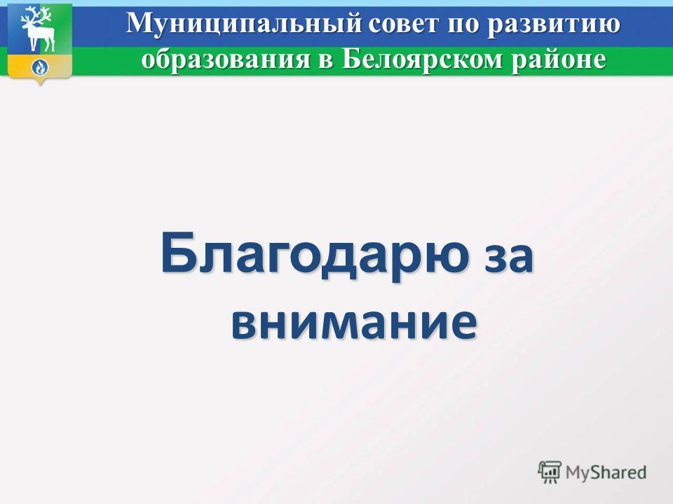 Муниципальный совет по развитию образования в Белоярском районе Благодарю за внимание Благодарю за внимание