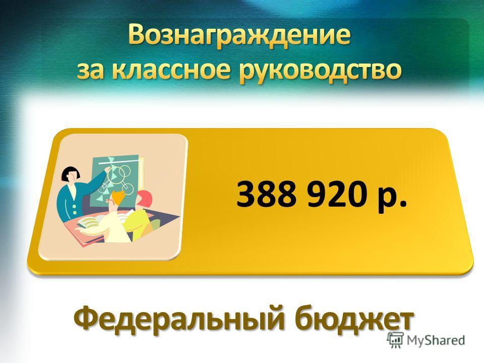 388 920 р. Федеральный бюджет