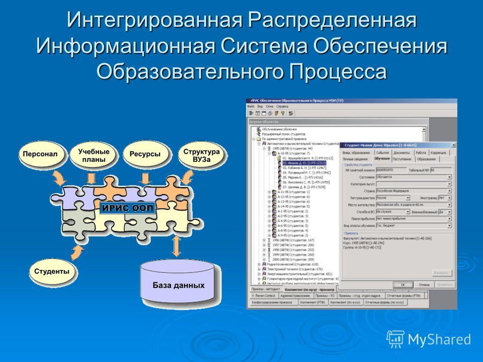 Интегрированная Распределенная Информационная Система Обеспечения Образовательного Процесса
