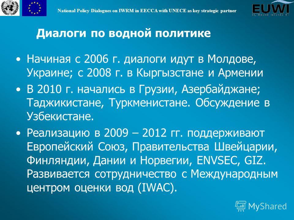 National Policy Dialogues on IWRM in EECCA with UNECE as key strategic partner Начиная с 2006 г. диалоги идут в Молдове, Украине; с 2008 г. в Кыргызстане и Армении В 2010 г. начались в Грузии, Азербайджане; Таджикистане, Туркменистане. Обсуждение в У