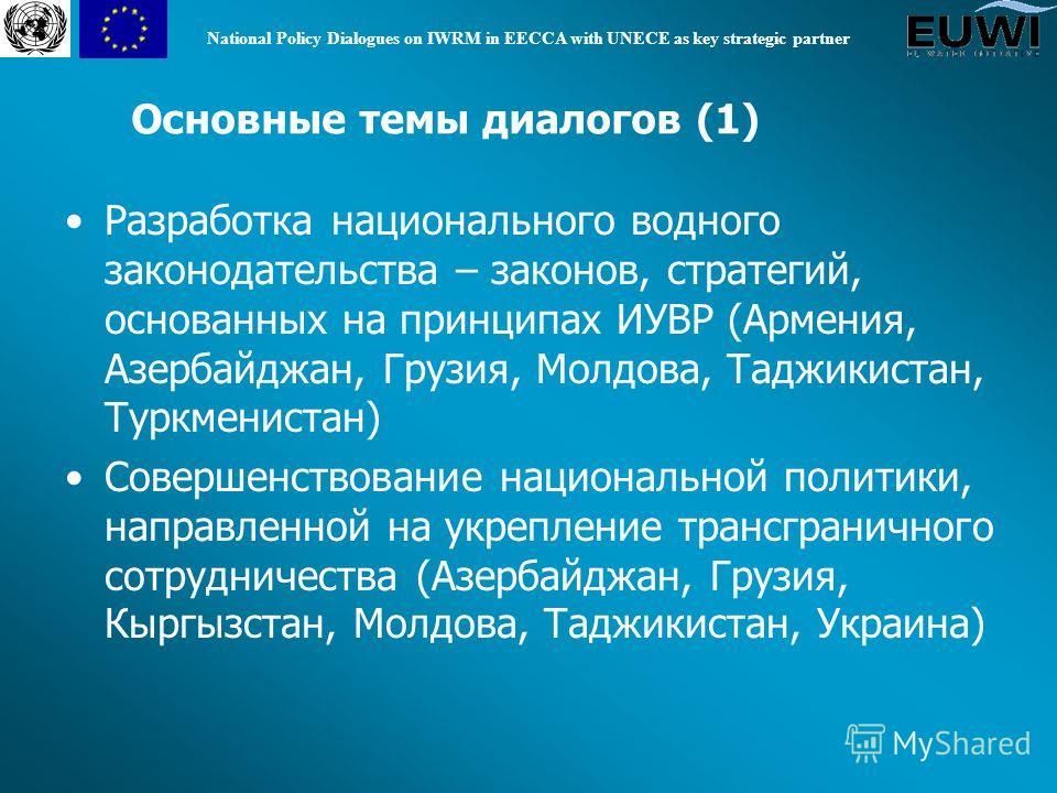 National Policy Dialogues on IWRM in EECCA with UNECE as key strategic partner Разработка национального водного законодательства – законов, стратегий, основанных на принципах ИУВР (Армения, Азербайджан, Грузия, Молдова, Таджикистан, Туркменистан) Сов
