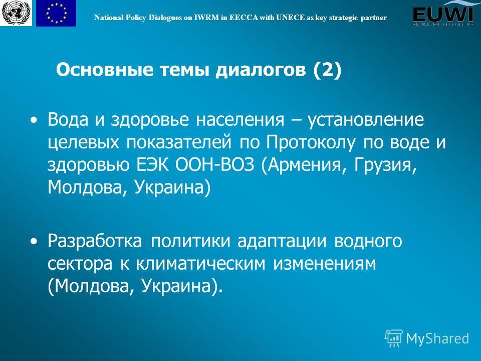 National Policy Dialogues on IWRM in EECCA with UNECE as key strategic partner Вода и здоровье населения – установление целевых показателей по Протоколу по воде и здоровью ЕЭК ООН-ВОЗ (Армения, Грузия, Молдова, Украина) Разработка политики адаптации