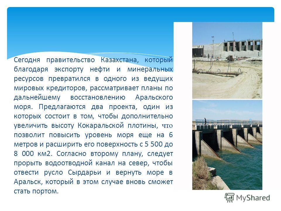 Сегодня правительство Казахстана, который благодаря экспорту нефти и минеральных ресурсов превратился в одного из ведущих мировых кредиторов, рассматривает планы по дальнейшему восстановлению Аральского моря. Предлагаются два проекта, один из которых