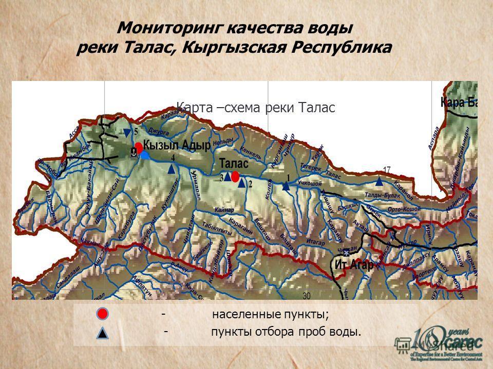 Мониторинг качества воды реки Талас, Кыргызская Республика - населенные пункты; - пункты отбора проб воды. Карта –схема реки Талас