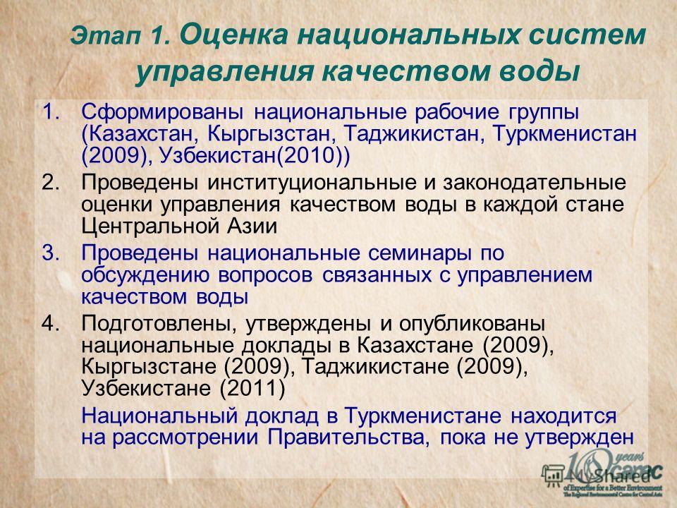 Этап 1. Оценка национальных систем управления качеством воды 1.Сформированы национальные рабочие группы (Казахстан, Кыргызстан, Таджикистан, Туркменистан (2009), Узбекистан(2010)) 2.Проведены институциональные и законодательные оценки управления каче
