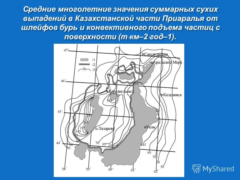 Средние многолетние значения суммарных сухих выпадений в Казахстанской части Приаралья от шлейфов бурь и конвективного подъема частиц с поверхности ( т км –2 год –1).