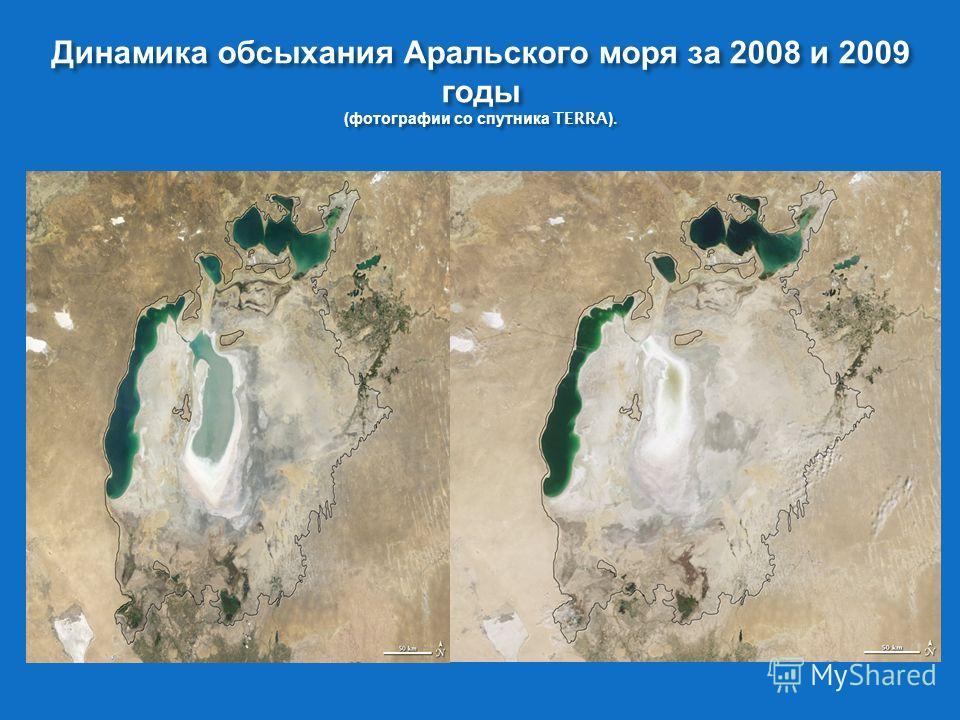 Динамика обсыхания Аральского моря за 2008 и 2009 годы ( фотографии со спутника TERRA).