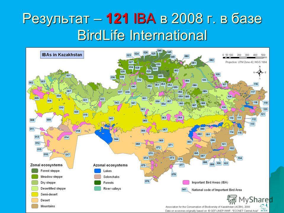 Результат – 121 IBA в 2008 г. в базе BirdLife International