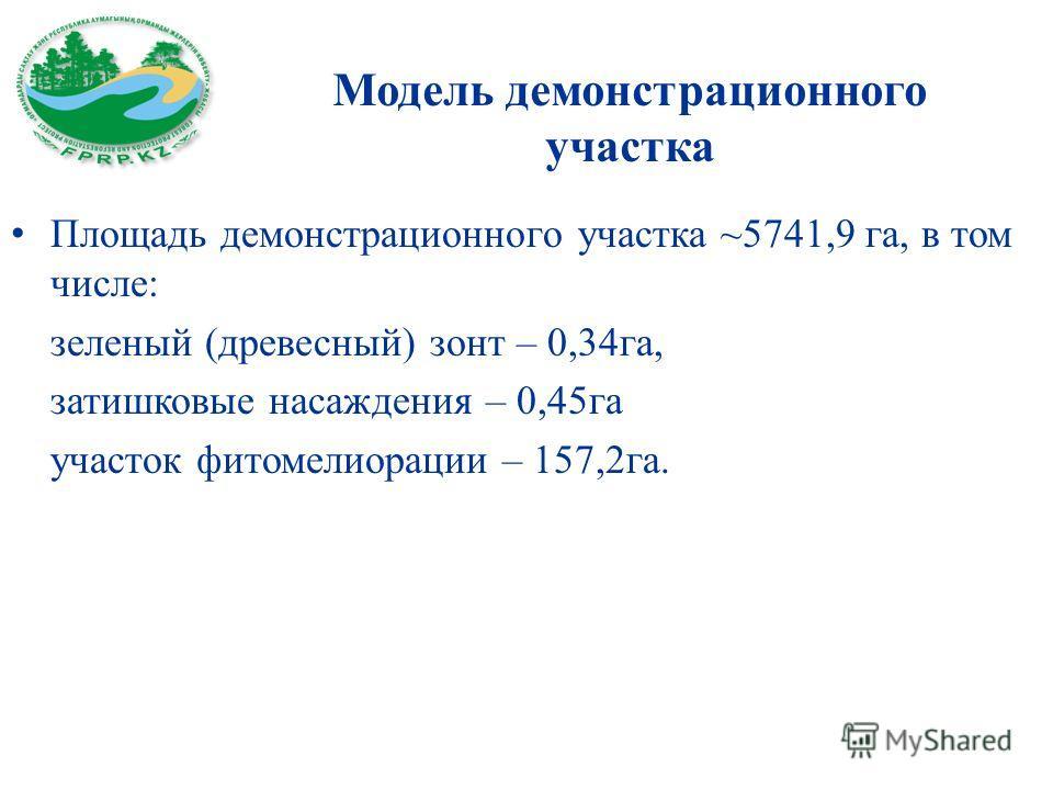 Модель демонстрационного участка Площадь демонстрационного участка ~5741,9 га, в том числе: зеленый (древесный) зонт – 0,34га, затишковые насаждения – 0,45га участок фитомелиорации – 157,2га.