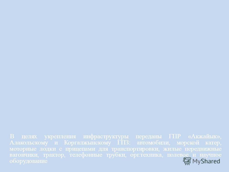 В целях укрепления инфраструктуры переданы ГПР «Акжайык», Алакольскому и Коргалжынскому ГПЗ: автомобили, морской катер, моторные лодки с прицепами для транспортировки, жилые передвижные вагончики, трактор, телефонные трубки, орг.техника, полевое и на
