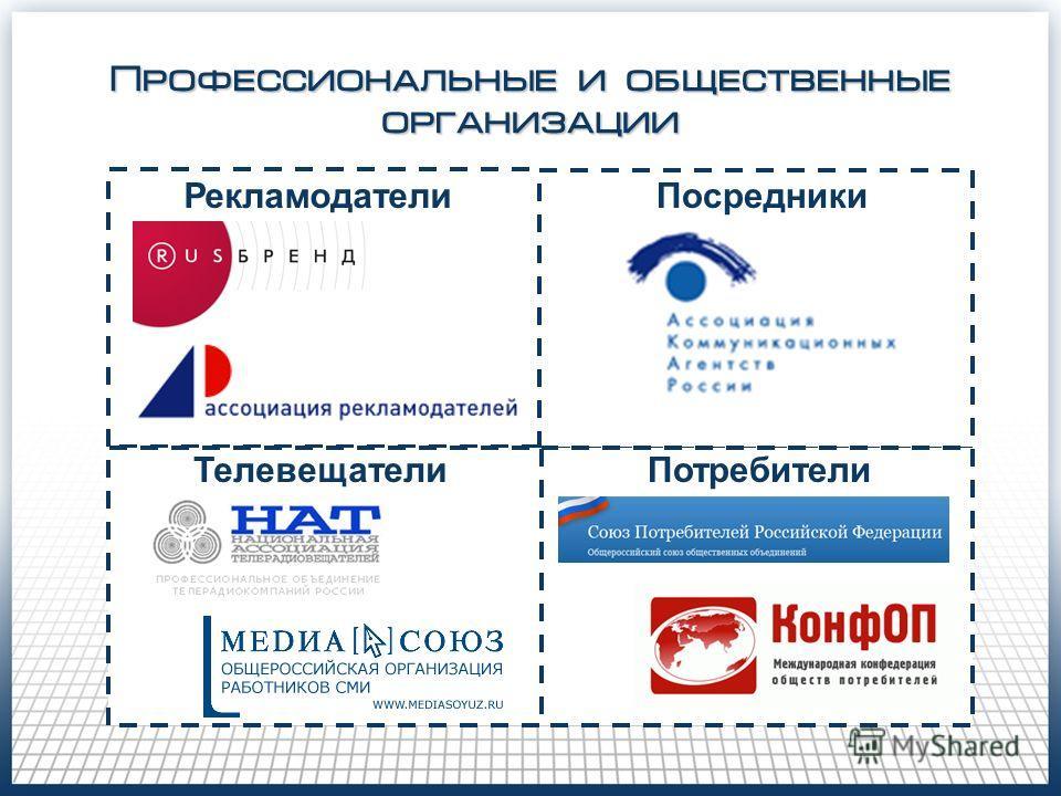 Профессиональные и общественные организации Рекламодатели ТелевещателиПотребители Посредники
