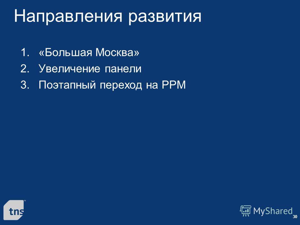 30 Направления развития 1. «Большая Москва» 2. Увеличение панели 3. Поэтапный переход на PPM