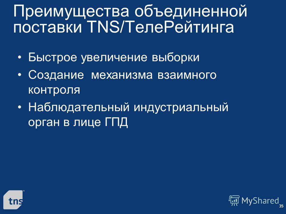 35 Преимущества объединенной поставки TNS/TелеРейтинга Быстрое увеличение выборки Создание механизма взаимного контроля Наблюдательный индустриальный орган в лице ГПД
