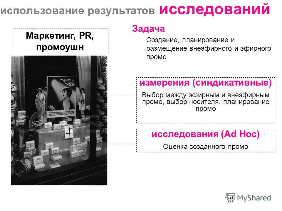 использование результатов исследований измерения (синдикативные) Выбор между эфирным и внеэфирным промо, выбор носителя, планирование промо Задача Создание, планирование и размещение внеэфирного и эфирного промо Маркетинг, PR, промоушн исследования (