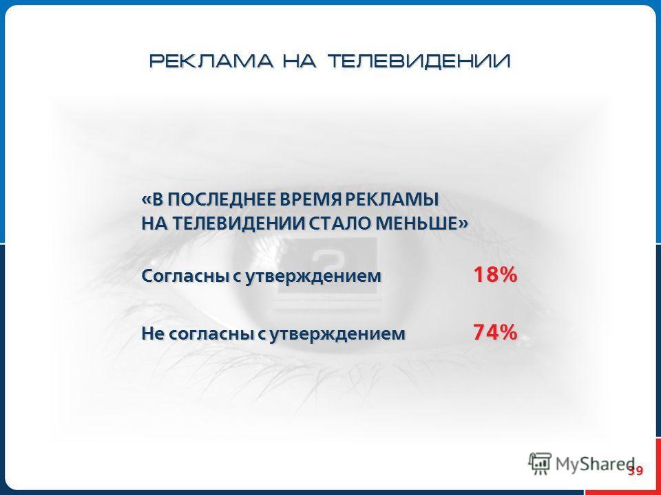 39 РЕКЛАМА НА ТЕЛЕВИДЕНИИ «В ПОСЛЕДНЕЕ ВРЕМЯ РЕКЛАМЫ НА ТЕЛЕВИДЕНИИ СТАЛО МЕНЬШЕ» Согласны с утверждением 18% Не согласны с утверждением 74%
