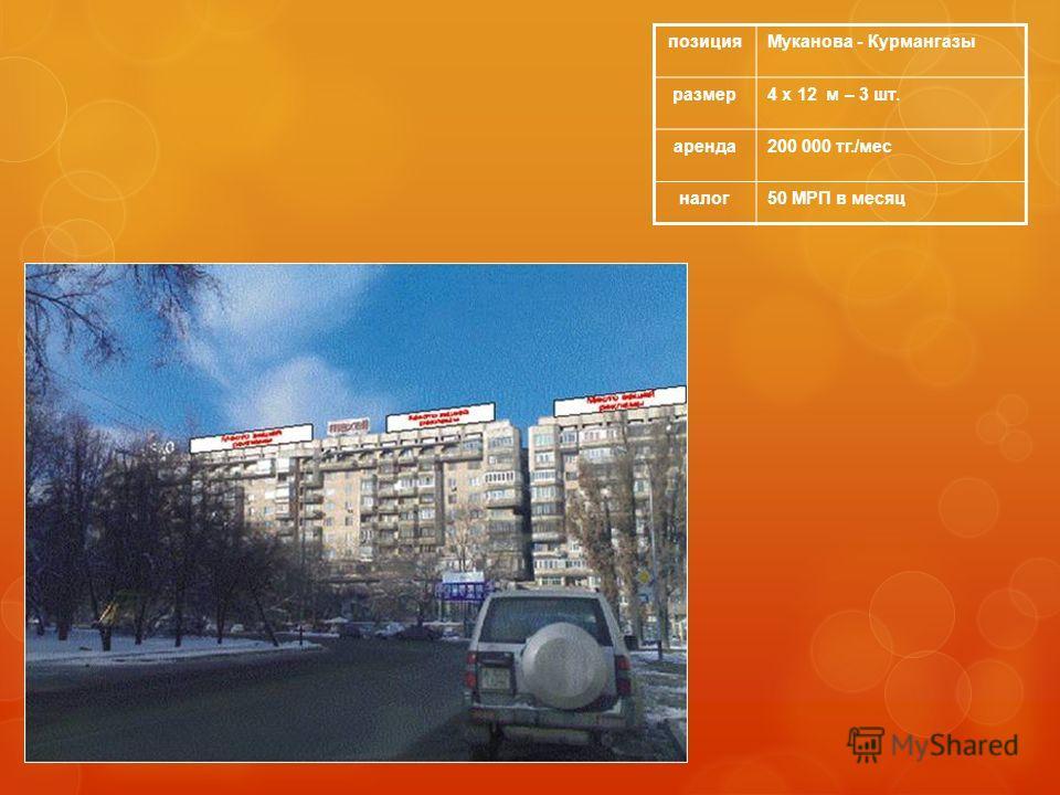 позицияМуканова - Курмангазы размер4 х 12 м – 3 шт. аренда200 000 тг./мес налог50 МРП в месяц