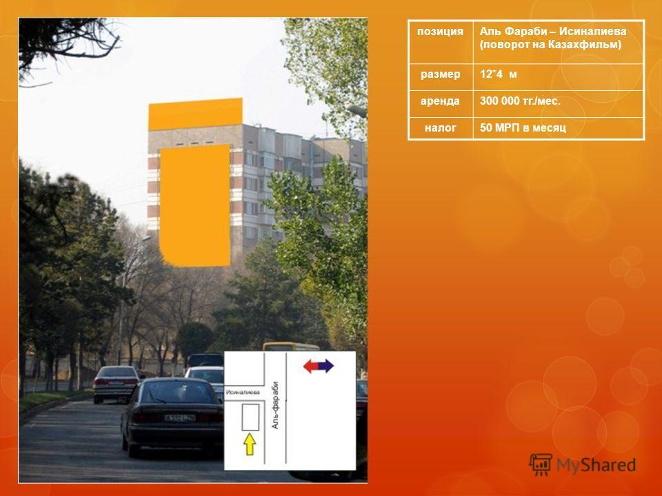 позицияАль Фараби – Исиналиева (поворот на Казахфильм) размер12*4 м аренда300 000 тг./мес. налог50 МРП в месяц
