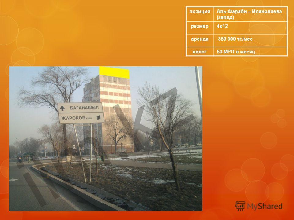 позицияАль-Фараби – Исиналиева (запад) размер4х12 аренда 350 000 тг./мес налог50 МРП в месяц