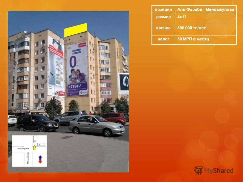 позицияАль-Фараби - Мендыкулова размер4х12 аренда300 000 тг./мес налог50 МРП в месяц