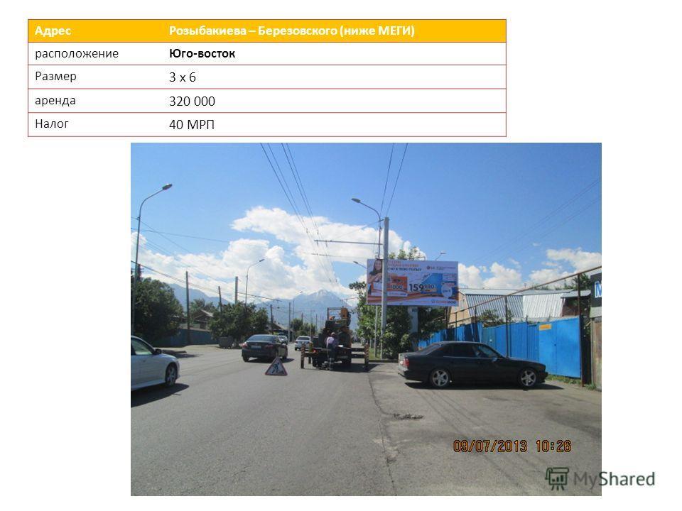 Адрес Розыбакиева – Березовского (ниже МЕГИ) расположениеЮго-восток Размер 3 х 6 аренда 320 000 Налог 40 МРП