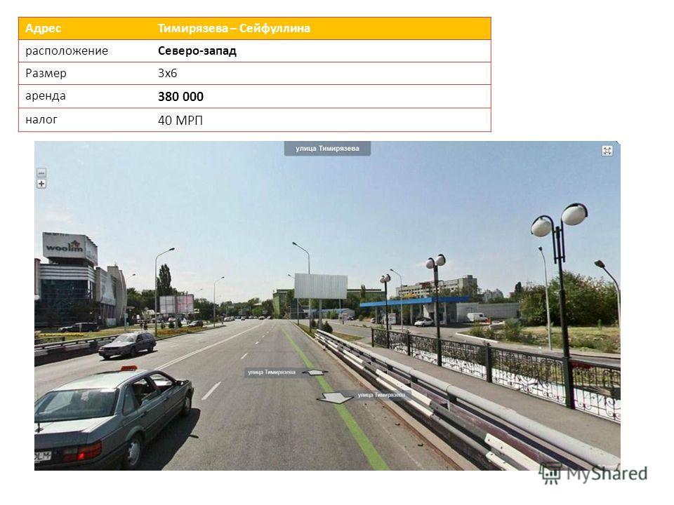 Адрес Тимирязева – Сейфуллина расположениеСеверо-запад Размер 3х6 аренда 380 000 налог 40 МРП