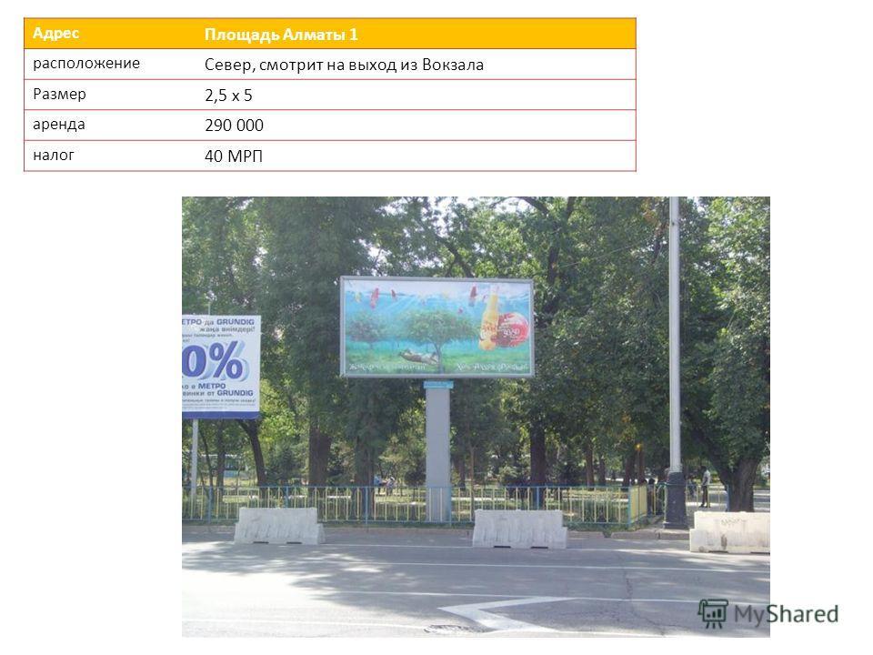 Адрес Площадь Алматы 1 расположение Север, смотрит на выход из Вокзала Размер 2,5 х 5 аренда 290 000 налог 40 МРП
