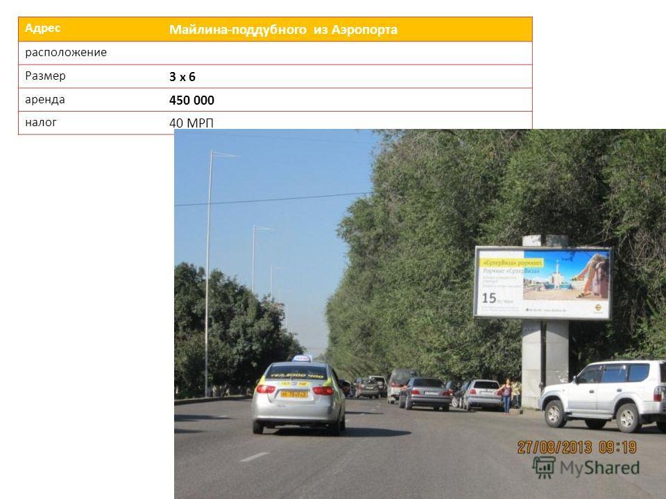 Адрес Майлина-поддубного из Аэропорта расположение Размер 3 х 6 аренда 450 000 налог 40 МРП