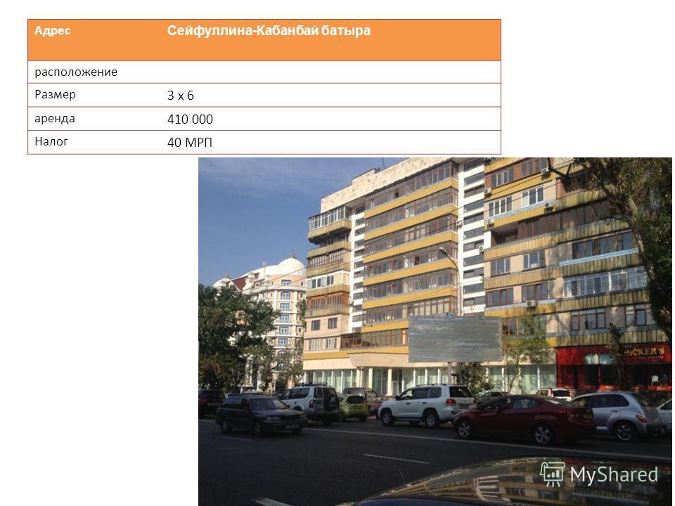 Адрес Cейфуллина-Кабанбай батыра расположение Размер 3 х 6 аренда 410 000 Налог 40 МРП