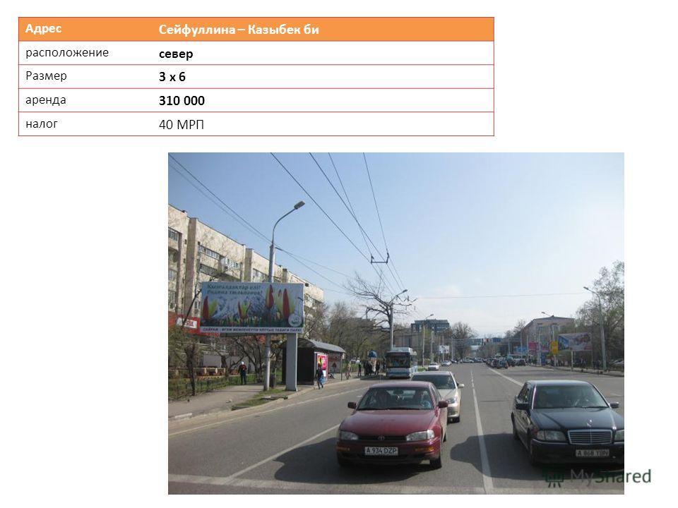 Адрес Сейфуллина – Казыбек би расположение север Размер 3 х 6 аренда 310 000 налог 40 МРП