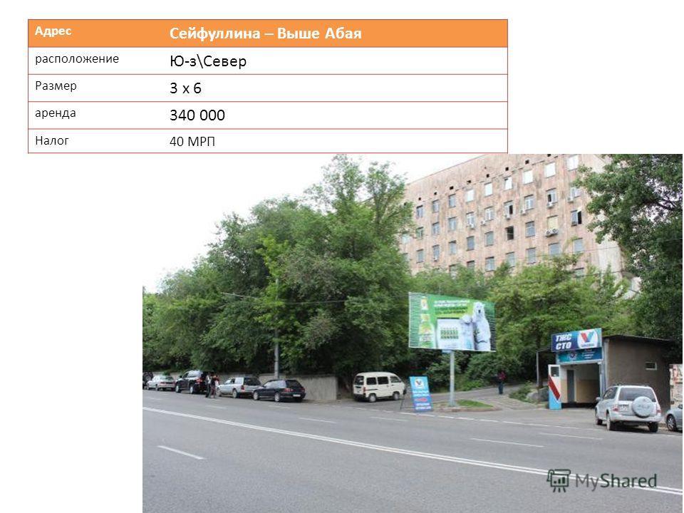 Адрес Сейфуллина – Выше Абая расположение Ю-з\Север Размер 3 х 6 аренда 340 000 Налог 40 МРП