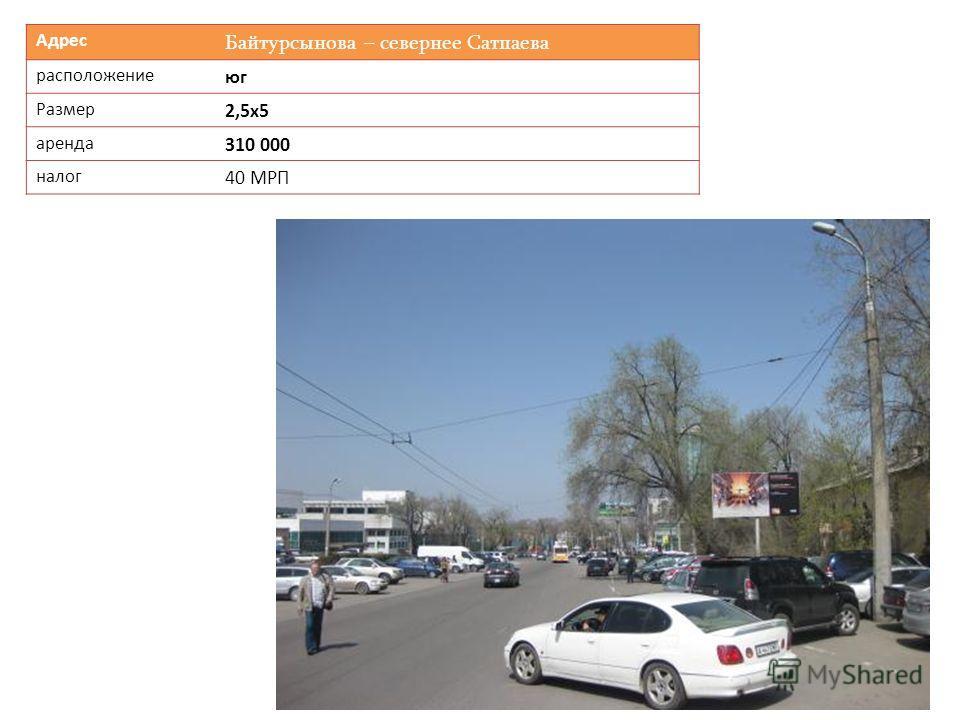 Адрес Байтурсынова – севернее Сатпаева расположение юг Размер 2,5х5 аренда 310 000 налог 40 МРП