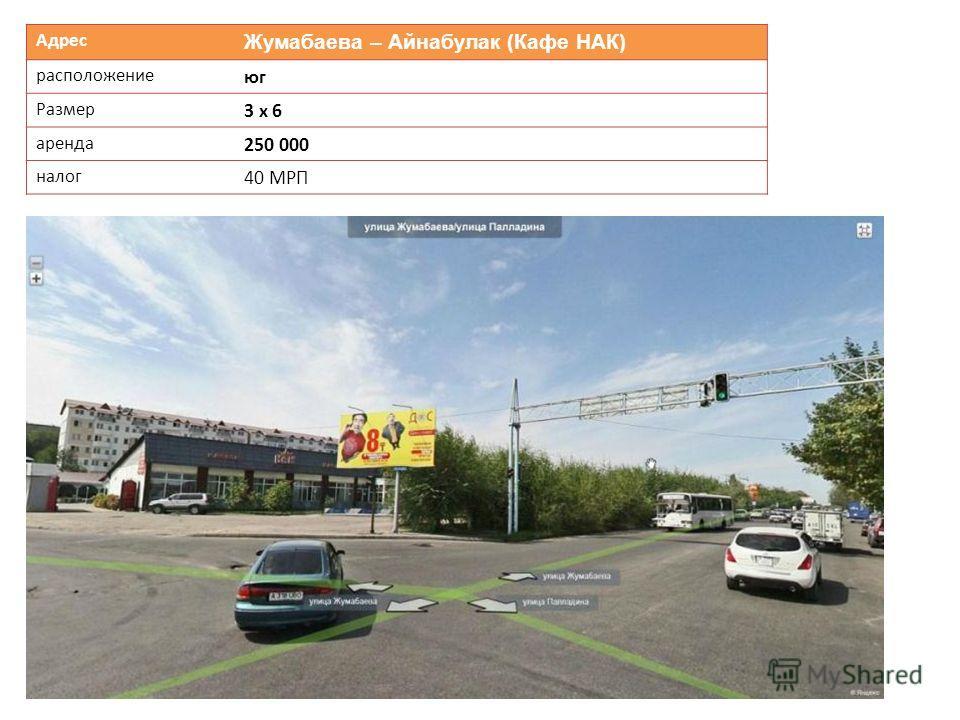 Адрес Жумабаева – Айнабулак (Кафе НАК) расположение юг Размер 3 х 6 аренда 250 000 налог 40 МРП